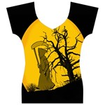 Death Haloween Background Card Women s V-Neck Cap Sleeve Top Front