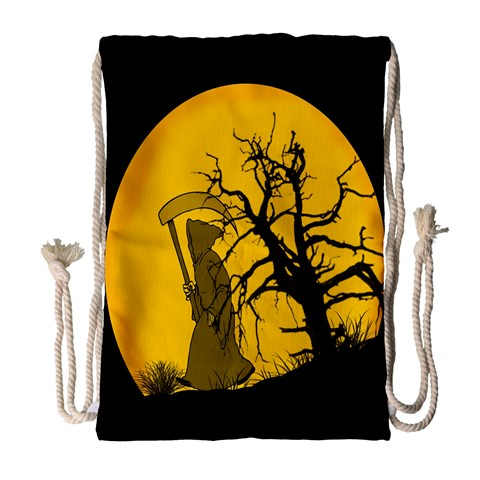 Death Haloween Background Card Drawstring Bag (Large)