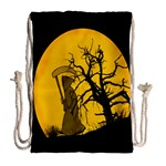 Death Haloween Background Card Drawstring Bag (Large) Back