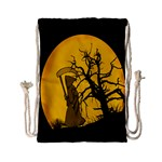 Death Haloween Background Card Drawstring Bag (Small) Front