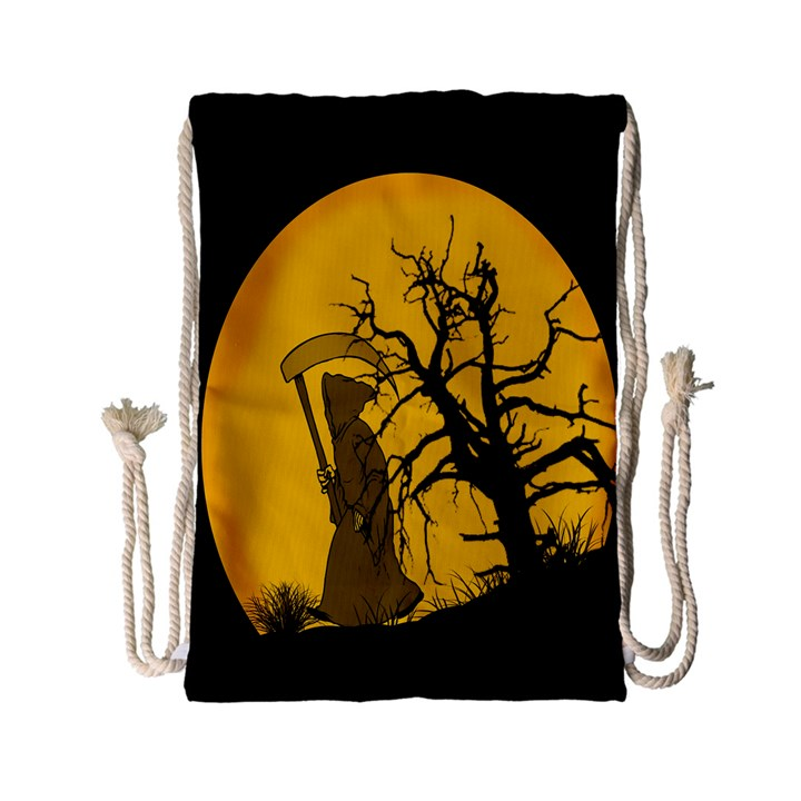 Death Haloween Background Card Drawstring Bag (Small)