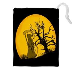 Death Haloween Background Card Drawstring Pouches (XXL)