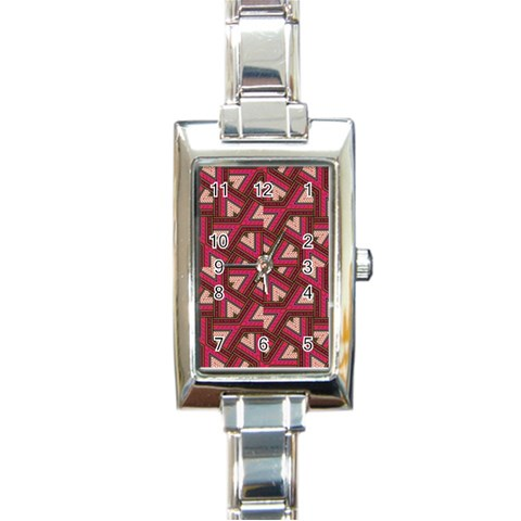 Digital Raspberry Pink Colorful  Rectangle Italian Charm Watch