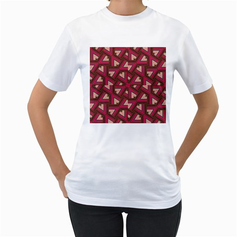 Digital Raspberry Pink Colorful  Women s T-Shirt (White) (Two Sided)