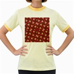 Digital Raspberry Pink Colorful  Women s Fitted Ringer T-Shirts Front