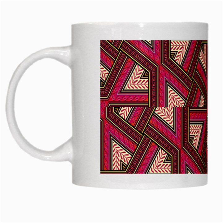 Digital Raspberry Pink Colorful  White Mugs