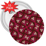 Digital Raspberry Pink Colorful  3  Buttons (10 pack)  Front