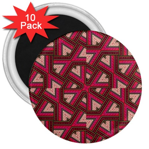 Digital Raspberry Pink Colorful  3  Magnets (10 pack)