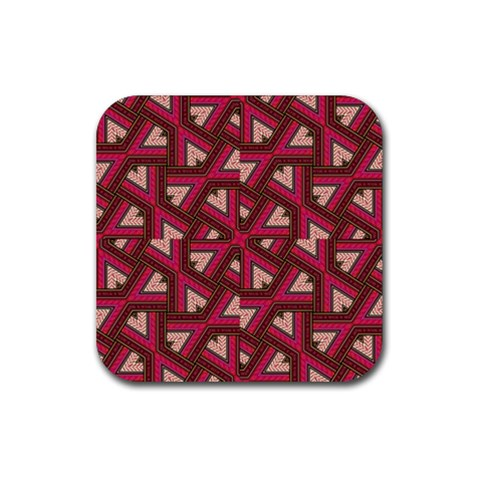 Digital Raspberry Pink Colorful  Rubber Coaster (Square)