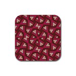 Digital Raspberry Pink Colorful  Rubber Square Coaster (4 pack)  Front