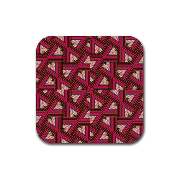 Digital Raspberry Pink Colorful  Rubber Square Coaster (4 pack)