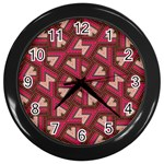 Digital Raspberry Pink Colorful  Wall Clocks (Black) Front