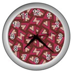 Digital Raspberry Pink Colorful  Wall Clocks (Silver)  Front