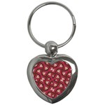 Digital Raspberry Pink Colorful  Key Chains (Heart)  Front