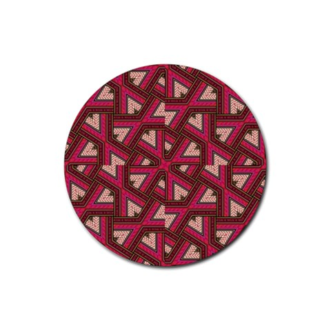 Digital Raspberry Pink Colorful  Rubber Round Coaster (4 pack)