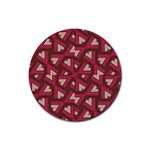 Digital Raspberry Pink Colorful  Rubber Round Coaster (4 pack)  Front