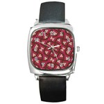 Digital Raspberry Pink Colorful  Square Metal Watch Front