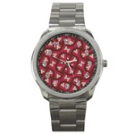 Digital Raspberry Pink Colorful  Sport Metal Watch Front