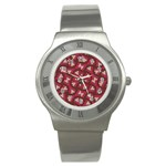 Digital Raspberry Pink Colorful  Stainless Steel Watch Front