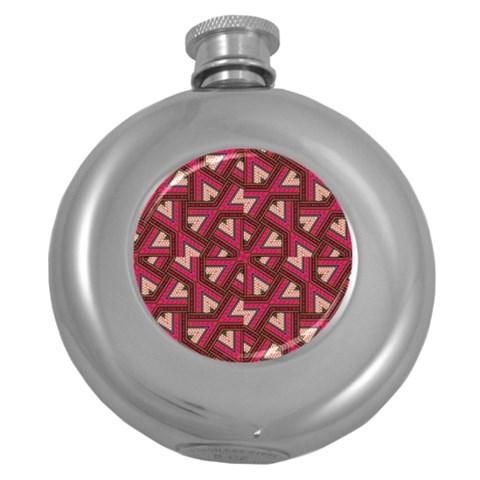 Digital Raspberry Pink Colorful  Round Hip Flask (5 oz)