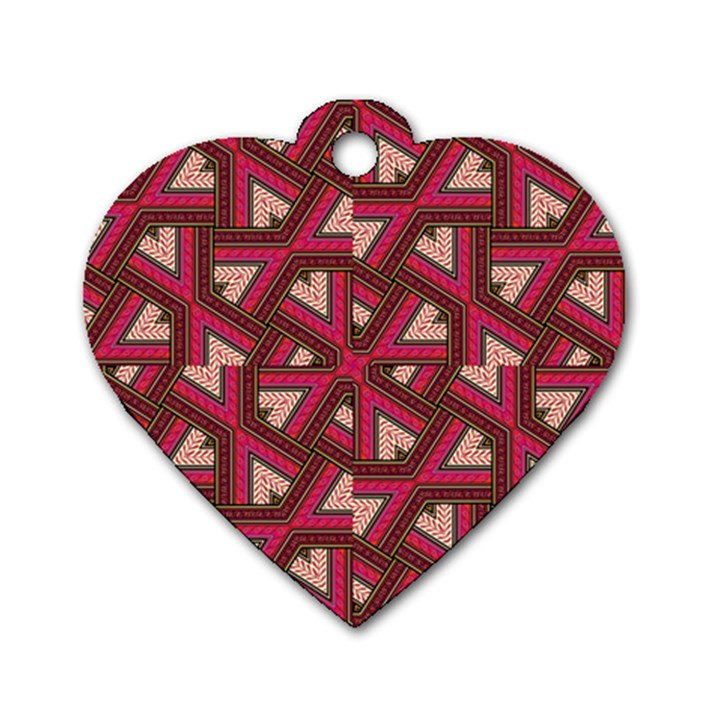 Digital Raspberry Pink Colorful  Dog Tag Heart (One Side)