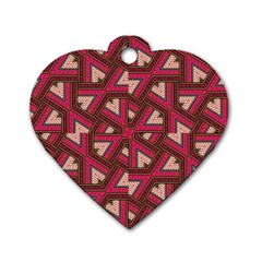 Digital Raspberry Pink Colorful  Dog Tag Heart (Two Sides)