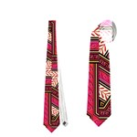 Digital Raspberry Pink Colorful  Neckties (Two Side)  Front