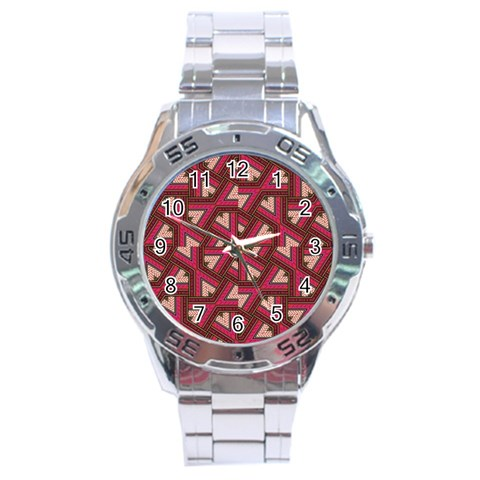 Digital Raspberry Pink Colorful  Stainless Steel Analogue Watch