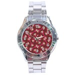 Digital Raspberry Pink Colorful  Stainless Steel Analogue Watch Front