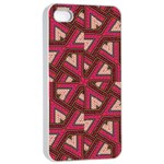 Digital Raspberry Pink Colorful  Apple iPhone 4/4s Seamless Case (White) Front
