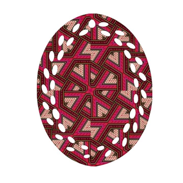 Digital Raspberry Pink Colorful  Oval Filigree Ornament (2-Side)