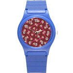 Digital Raspberry Pink Colorful  Round Plastic Sport Watch (S) Front