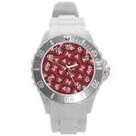 Digital Raspberry Pink Colorful  Round Plastic Sport Watch (L) Front