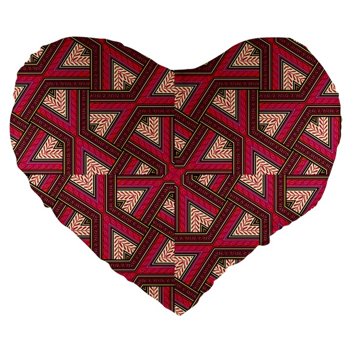 Digital Raspberry Pink Colorful  Large 19  Premium Heart Shape Cushions
