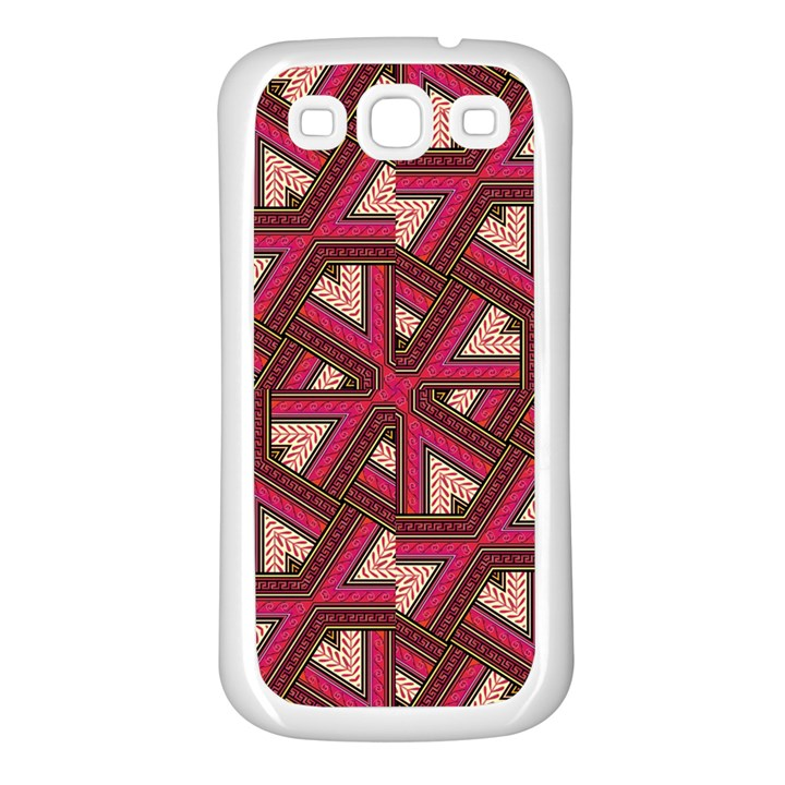 Digital Raspberry Pink Colorful  Samsung Galaxy S3 Back Case (White)