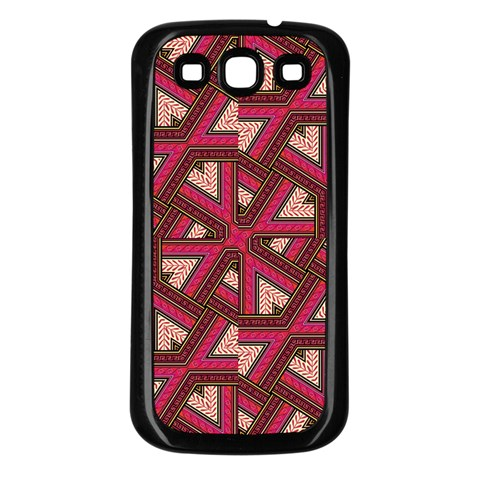 Digital Raspberry Pink Colorful  Samsung Galaxy S3 Back Case (Black)