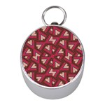 Digital Raspberry Pink Colorful  Mini Silver Compasses Front