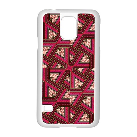 Digital Raspberry Pink Colorful  Samsung Galaxy S5 Case (White)