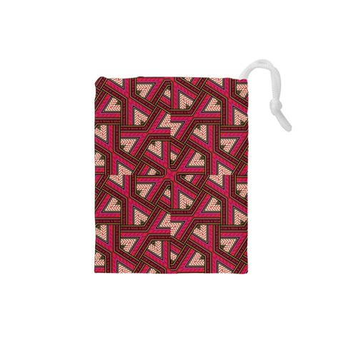 Digital Raspberry Pink Colorful  Drawstring Pouches (Small)