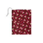 Digital Raspberry Pink Colorful  Drawstring Pouches (Small)  Back