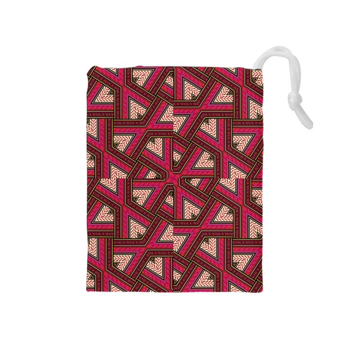 Digital Raspberry Pink Colorful  Drawstring Pouches (Medium)