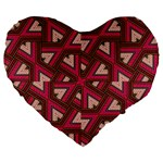 Digital Raspberry Pink Colorful  Large 19  Premium Flano Heart Shape Cushions Front