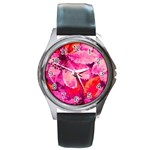 Geometric Magenta Garden Round Metal Watch Front