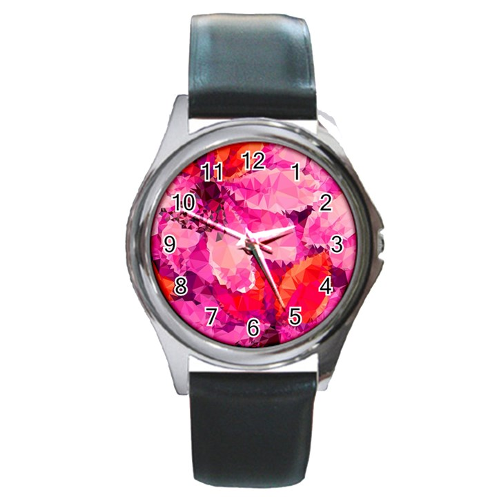 Geometric Magenta Garden Round Metal Watch