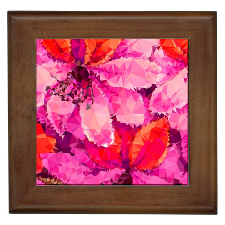 Geometric Magenta Garden Framed Tiles