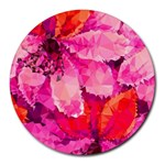 Geometric Magenta Garden Round Mousepads Front