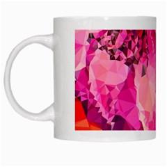 Geometric Magenta Garden White Mugs