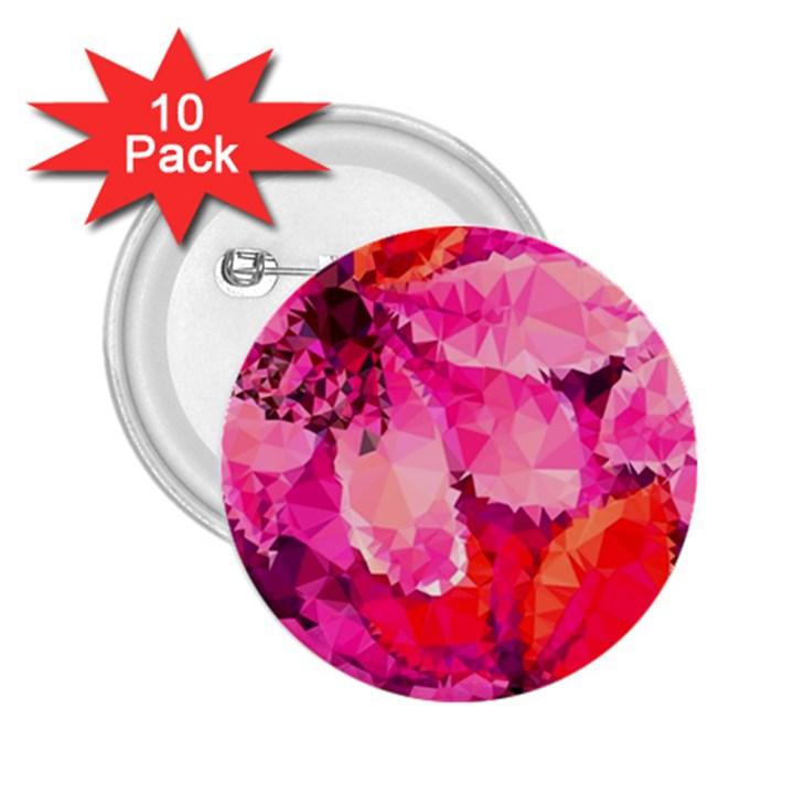 Geometric Magenta Garden 2.25  Buttons (10 pack)