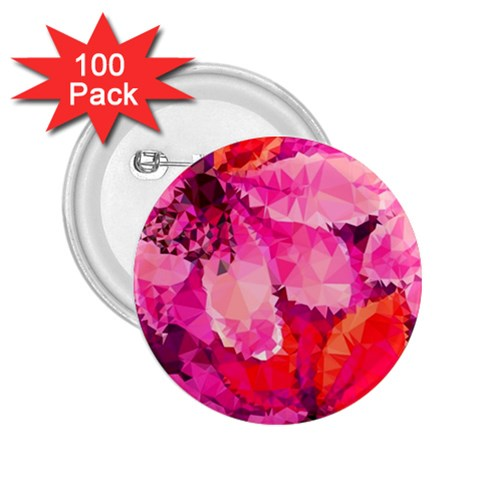 Geometric Magenta Garden 2.25  Buttons (100 pack)