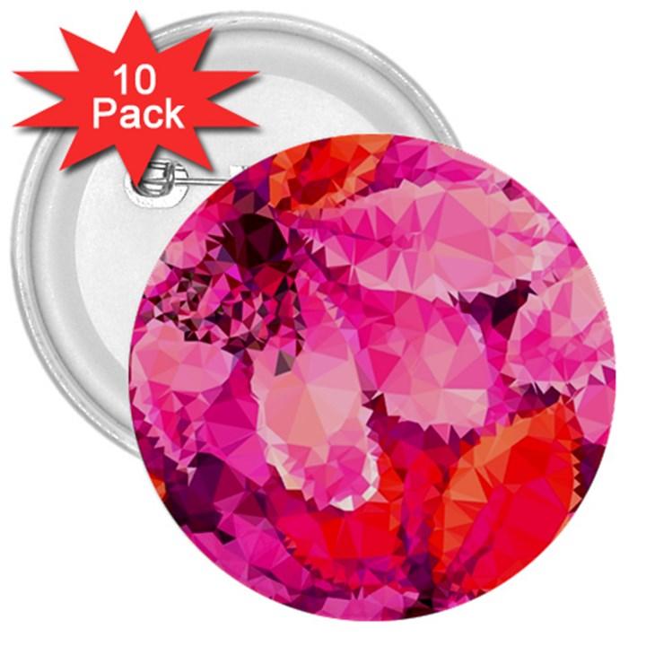 Geometric Magenta Garden 3  Buttons (10 pack)